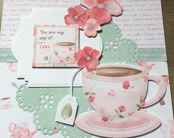 You are my cup of tea card, pretty pastel card for birthdays, thanks or to celebrate friendship