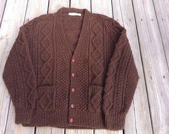 Vintage   Hand Knit V-Neck Irish Cardigan Fisherman's  Sweater by Athena Designs Pure Wool