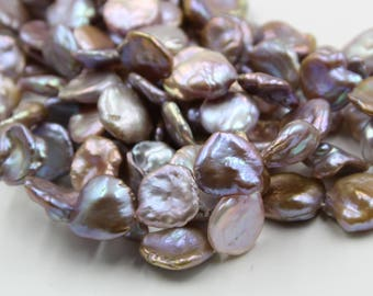 18 - 20 mm purple coin freshwater pearls, purple coin pearl,15'' full strand, coin pearl strands, pearl wholesale