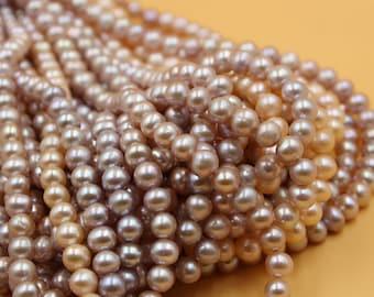 6 - 7 mm gold / pink round freshwater pearls, round pearl,15'' full strand, round pearl strands, pearl wholesale
