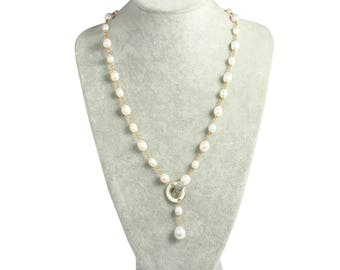 Gold Pearl Necklace,White Pearl Necklace,White Freshwater Pearl Jewelry,Pearl Long Necklace