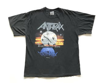 1990 Anthrax 'Persistence Of Time' vintage band T-shirt - XL - Slayer, Megadeth, Metallica, Iron Maiden, Black Sabbath