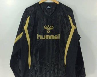 On sale 30% Vintage 90s HUMMEL Black Windbreaker Big Logo Spellout Hip Hop Streetwear