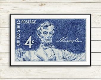 Lincoln, President Lincoln, Abraham Lincoln, Lincoln Memorial, US History, US Postage, United States Postage, Lincoln art, Lincoln posters