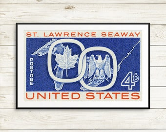 St Lawrence Seaway, great lakes, great lakes poster, maple leaf art, bald eagle art, USA and Canada, Unites States stamp, huge wall art