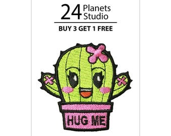 Buy 3 Get 1 Free Cactus Hug Me - Pink Iron on Patch by 24PlanetsStudio