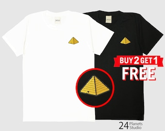 Pyramid Embroidered T-Shirt by 24PlanetsStudio