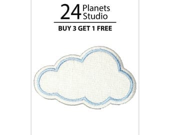 White Cloud Iron on Patch by 24PlanetsStudio