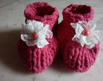 Adorable pink booties for girl