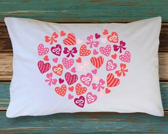 Pillowcase I LOVE YOU Hearts & Bows Anniversary Wedding Birthday Adorable Honeymoon Bedding Bridal Shower Present Bachelorette Party Gift