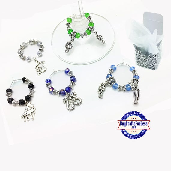MUSiC Theme WINE or Bottle Charms or Napkin Rings, Set of 6, FREE Gift Box +FREE SHiPPiNG & Discounts*