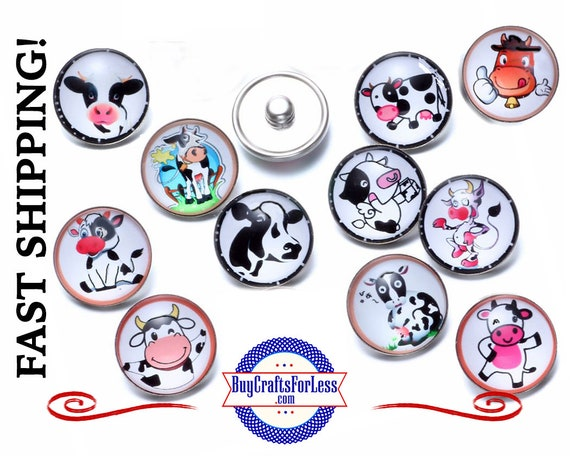 SNAP Cartoon COWs BUTTONs, SET of 4, Choose Set, 18mm INTERCHaNGABLE Button +FREE Shipping & Discounts