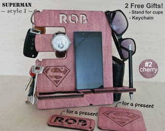 Docking station, Charging station, Gift him, Iphone dock, Iphone stand, Cell phone stand, Desck organizer, Android docking station, Superman