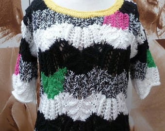 handmade knit with splashes of color