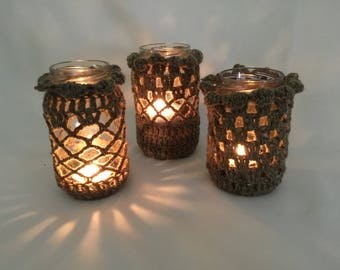 Upcycled set of 3 candle tea light holders