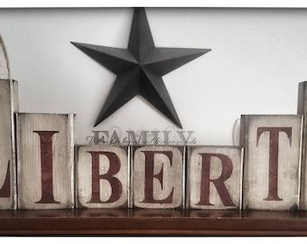 7 pc. Wooden Liberty Block Set-Americana Decor-Americana Block Set-Primitive Decor-Primitive Home Decor-USA Americana Decor-Americana