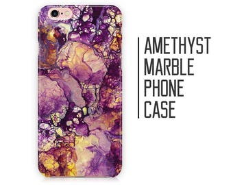 Amethyst Marble Phone Case for iPhone X 8 Plus 7 6 6s 5 5s 5c SE + Samsung S6 S7 S8+ Purple Marble