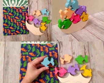 Montessori puzzle, Waldorf puzzle, fish puzzle, handmade stacking puzzle,  wooden toy gift