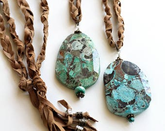 Ocean Jasper Gemstone Necklaces // Crystal Necklace // Blue Stone // Green Stone //