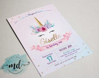 Unicorn Printable Invitation