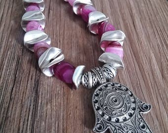 Necklace, necklace of agate, gemstone, purple necklace, birthday, anniversary, ethnic style, hand of fatima, hamsa necklace, silver