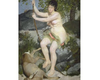 Auguste Renoir : Diana (1867) Canvas Gallery Wrapped Wall Art Print