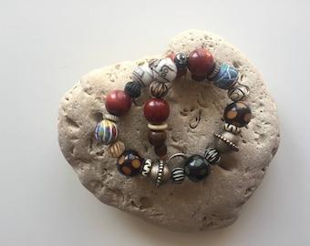 Vintage Choker, Wooden ,Ceramic,Glass Beaded Ethnic Necklace,Bohemian Choker