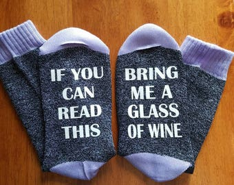 If You Can Read This Bring Me Wine, Wine Socks, Bottoms Up Socks, Gifts for Her, Boot Socks, Casual Socks