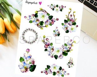 Apple Blossom Stickers - Bullet Journal Stickers - Planner Stickers - Decorative Stickers - WF024