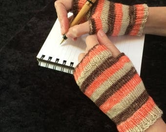 Fingerless Gloves -short - salmon, beige, brown