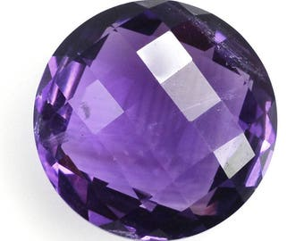 11-12-14 mm Amethyst faceted checker cut round briolette, both side checkerboard, purple blue color, for jewelry making, February Birthstone
