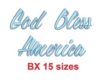God Bless America BX font Sizes 0.25 (1/4), 0.50 (1/2), 1, 1.5, 2, 2.5, 3, 3.5, 4, 4.5, 5, 5.5, 6, 6.5, and 7 inches
