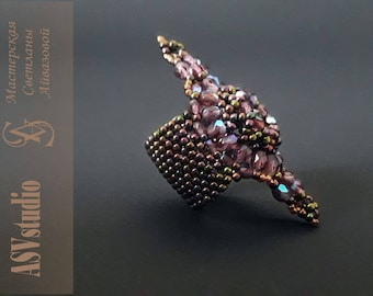 "Large ring ""Princess"" from beads with Swarovski"