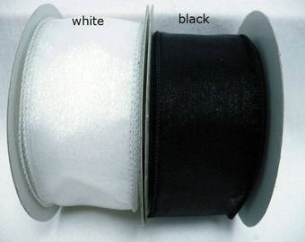 "black sheer wired ribbon, size 2"" x 20 yards"