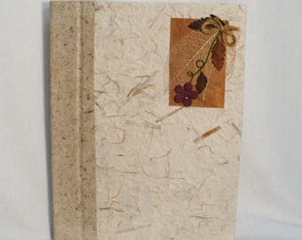 Journal handmade, handmade paper journal, hand bound and decorated cover