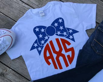 Monogram with Bow 4th of July T-shirt