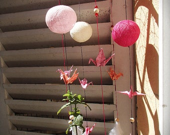 Hanging mobile origami ROSE and dream catcher