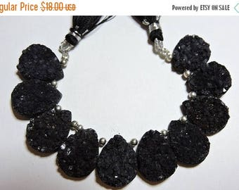On Sale 9 Pcs Beautiful Natural Black Druzy Pear Shaped Beads Size 20X15 MM