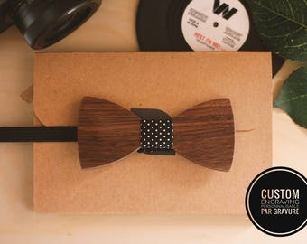 Wooden bow tie kid can be personalized with name engraved, kid gift, custom teen bowtie