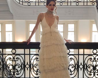 Alice + Olivia Swift Strappy Multi Ruffle Tiered Lace Gown
