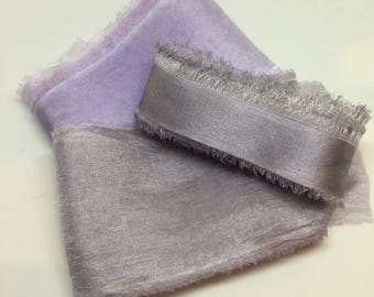 styling bundle hand dyed silk ribbons, grey, pewter, lilac