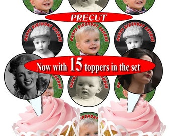 Personalised Picture photo birthday cupcake toppers, PRE-CUT 50mm