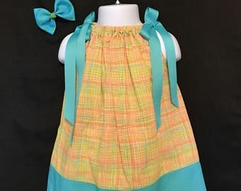 Little Girls Yellow & Aqua Plaid Dress; Toddlers Yellow/Aqua Plaid Dress; Toddlers Yellow Plaid Dress; Toddler's Pillowcase Dress