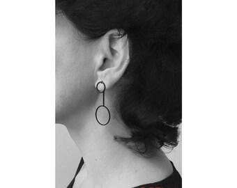 Christmas sister, Earring black, earring circle, jewelry black, jewelry minimalist, earring minimalist, girlfriend gift, women 20, she black