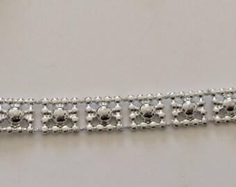 Bead 1 cm width acrylic silver color ribbon