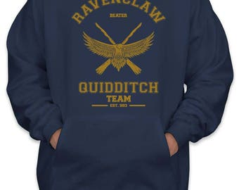 Ravenclaw BEATER Quidditch team Yellow Unisex Pullover Hoodie / Hooded Sweatshirt Navy