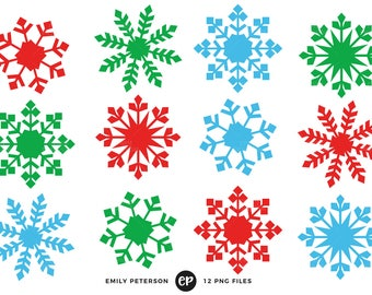 50% OFF SALE! Snowflakes Clip Art, Christmas Clipart, Snow Clip Art - Commercial Use, Instant Download