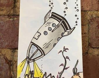 Underwater Spaceship Watercolor Painting
