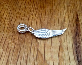 Pure Silver Angel wing charm, angel wing pandora-style charm, angel wing dangle charm, silver, angel, wing, bracelet, charm, pure silver