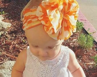 Orange and white polkadot Ruffle Messy Bow Headband